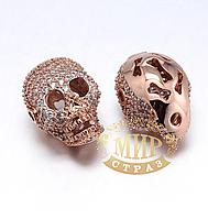 Бусина-череп с цирконием, цвет Rose Gold, 13х17мм, 1 шт