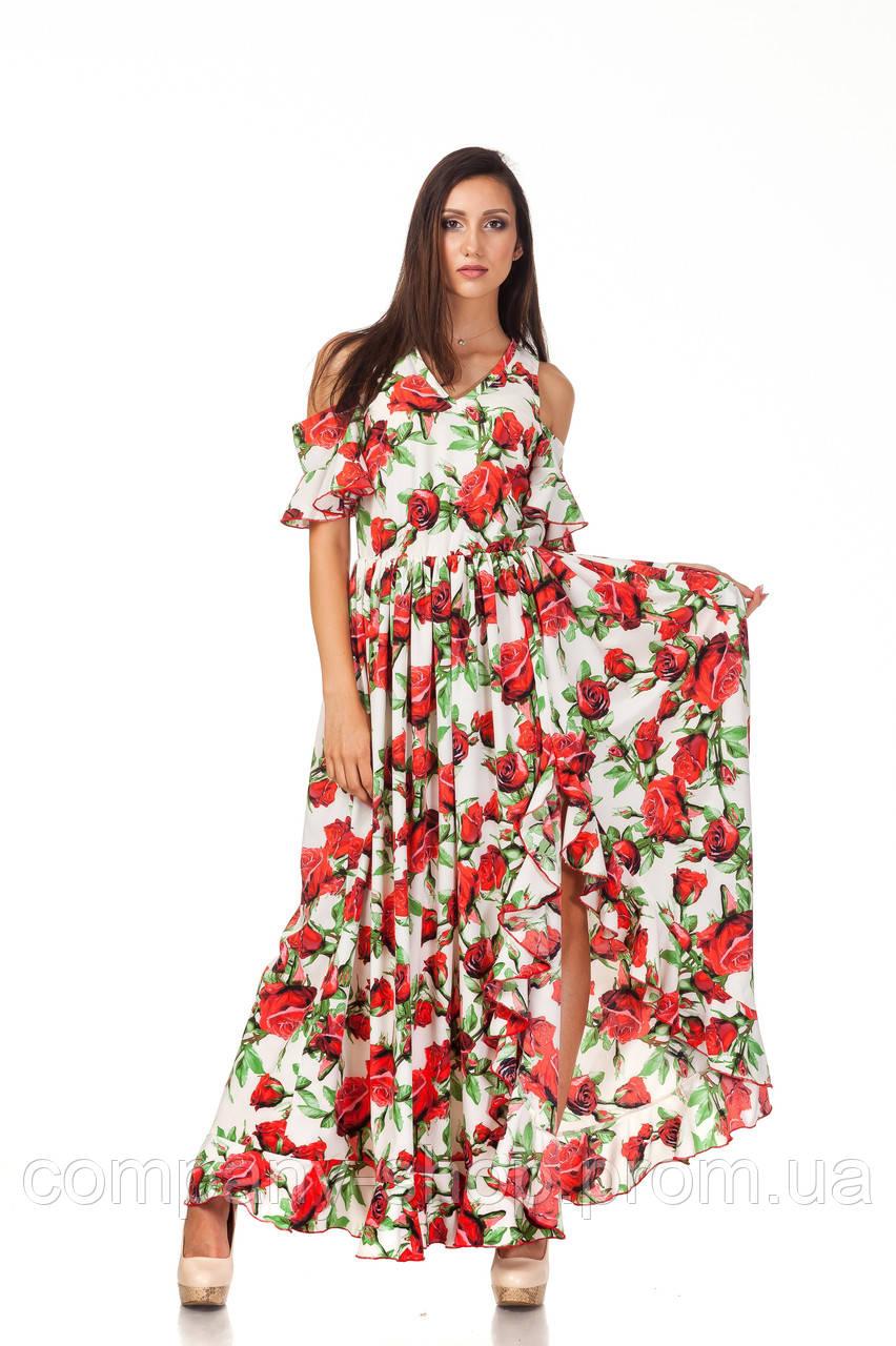 Длинное богемное платье опт. Модель П123_розы