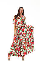 Длинное богемное платье опт. Модель П123_розы, фото 1