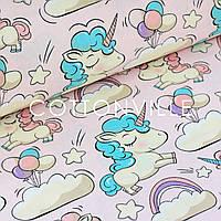 Поплин Единороги в облаках розовый фон, фото 1