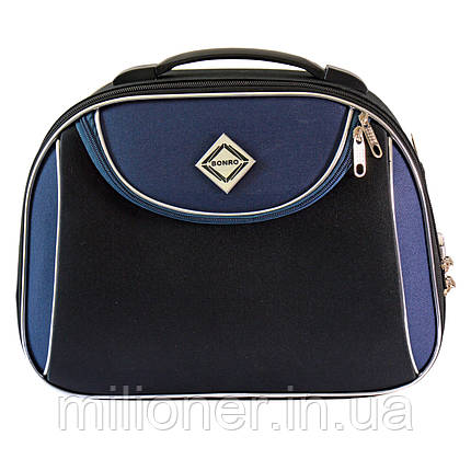 Сумка кейс саквояж Bonro Style (небольшой) черно-т. синий, фото 2