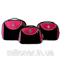 Сумка кейс саквояж Bonro Style (небольшой) черно-розовый, фото 2