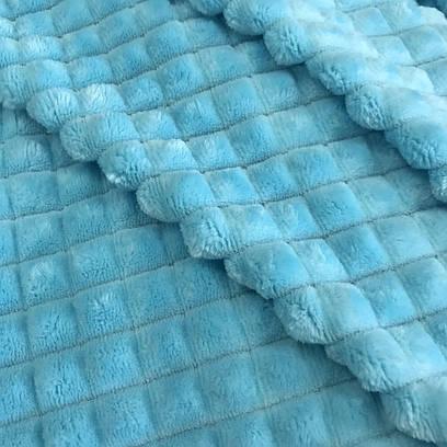Плюшевая ткань MINKY ПИРАМИДА  голубой (плот. 350 г/м.кв)