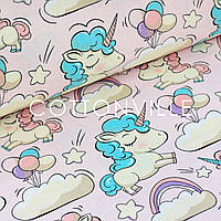 ✁ Отрезы поплина Единороги в облаках розовый фон, фото 1