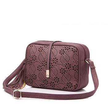 Модная маленькая женская сумка. Сумочка женская с цветами и кисточкой (фиолетовая)