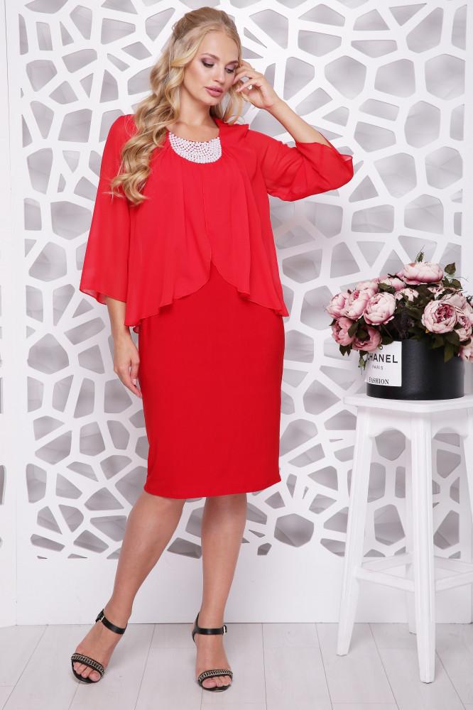 Женское нарядное платье Мелодия / цвет красный / размер 50-58