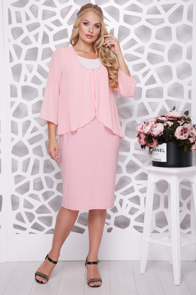 Женское нарядное платье Мелодия / цвет персик / размер 50-58