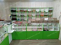 Прилавки и стеллажи для магазина сухофруктов, оборудование для магазина сухофруктов, стеллажи с ячейками, прилавки с разделителями