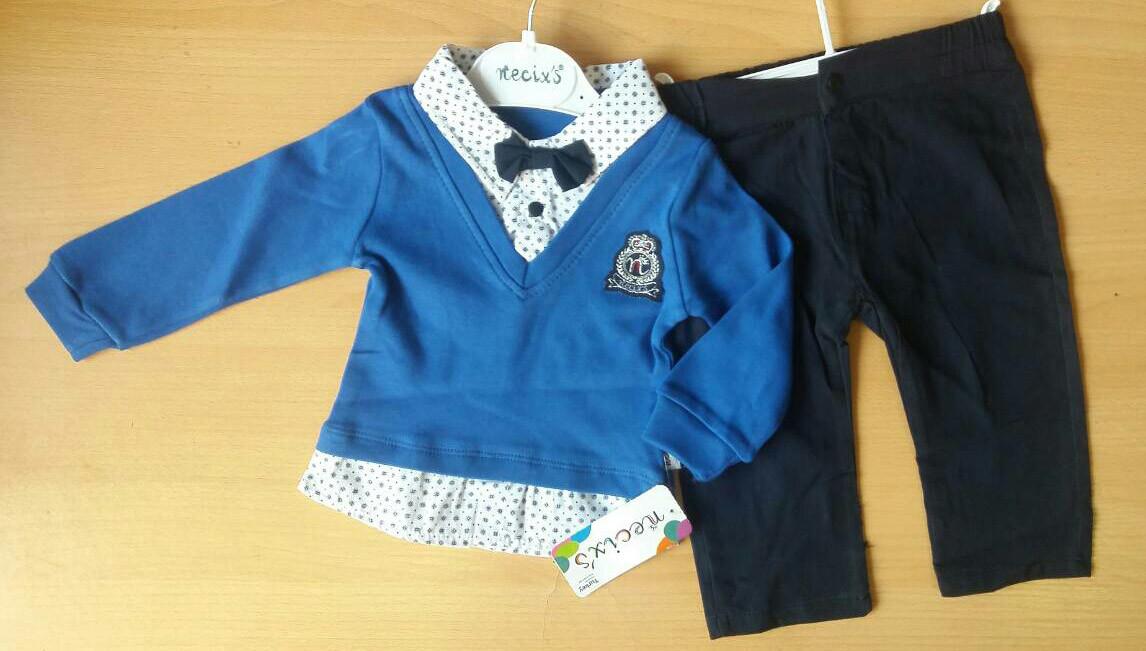 Нарядный костюм с бабочкой для новорожденных 6-12 мес, однотонный джемпер-обманка и штанишки