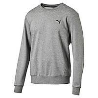 Джемпер спортивный мужской Puma ESS Crew Sweat 838367 03 (серый, хлопок, для тренировок, с логотипом пума)