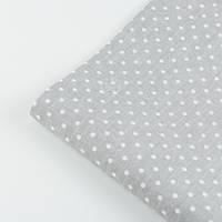 Лоскут ткани №23а с горошком на сером фоне