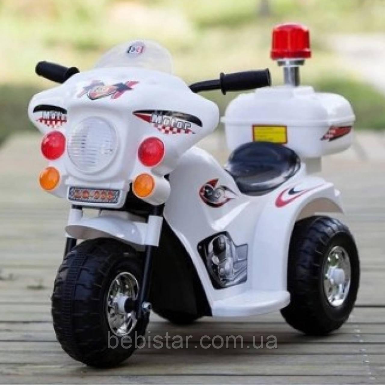 Детский электромобиль-мотоцикл Т-723 белый деткам 3-5 лет
