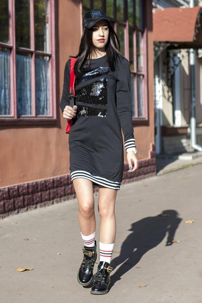 Черное платье MARILYN с пайеточной абстракцией