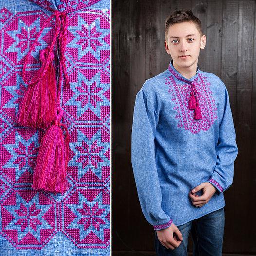 Вышитая сорочка для мужчин (джинс) с малиновой вышивкой