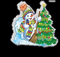 Декорация  для нового года Снеговик и елка