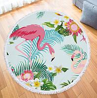 Круглый пляжный коврик (подстилка для пляжа) два Фламинго с бахромой