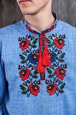 Вишиванка чоловіча (джинс) з квітковою вишивкою, фото 2