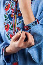 Вишиванка чоловіча (джинс) з квітковою вишивкою, фото 3