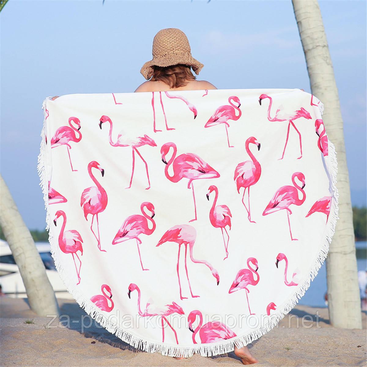 Купить Круглый пляжный коврик (подстилка для пляжа) Розовые Фламинго ... 4c732df3098