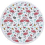 Круглый пляжный коврик (подстилка для пляжа) SUM MER Фламинго с бахромой, фото 2
