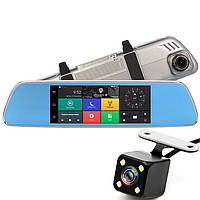 Зеркало видеорегистратор  7 дюймов Android Car Mirror  с функциями GPS,Wi-Fi, 3G, камера заднего вида.