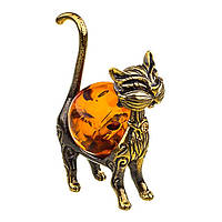 Фигурка бронзовая с янтарем Кошка