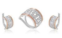 """Набор из серебра 925 пробы и золота 375 пробы """"Адриана"""", серьги + кольцо, фото 1"""