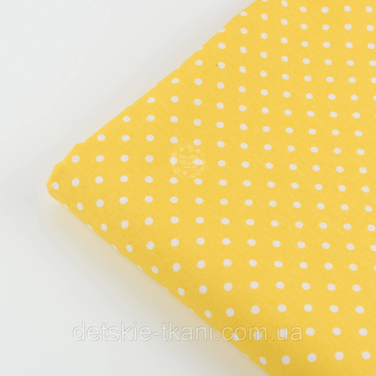 Лоскут ткани №823 с горошком 4 мм на жёлтом фоне