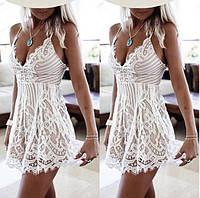 Кружевное мини платье... S-M