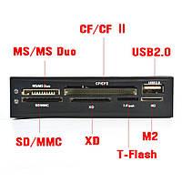 Картридер вместо дисковода 3.5 \ внутренний кардридер SD TF XD MS CF M2 + USB
