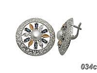 Серебряные серьги с напайками из золота Фортуна, фото 1