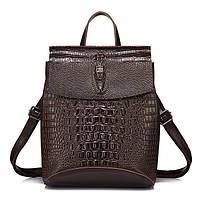 Рюкзак сумка женский городской кожаный с тиснением под крокодила (коричневый), фото 1