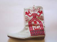 Обувь из конопли. Сапоги женские «Макоша» с аппликацией