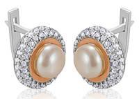 Серебряные серьги с золотыми пластинами САРА