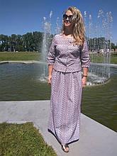 Костюм женский прошва кос 002-3, юбка в пол и жакет лен .