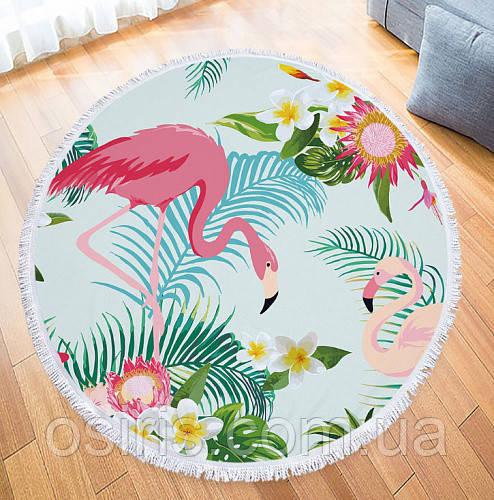 Пляжный коврик и парео 2 в 1 Два Фламинго с бахромой, 150 см Плащевка