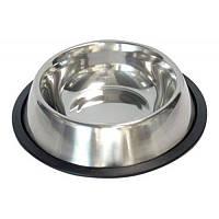 Миска для собак и кошек  металлическая на резине 0,24 л.