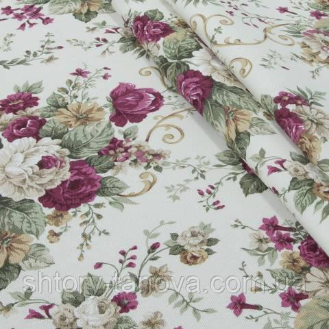 Декоративная ткань для штор, цветочный принт розово-красный