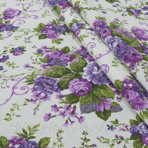 Декоративная ткань для штор, цветочный принт фиолетовый