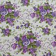 Декоративна тканина для штор, квітковий принт фіолетовий, фото 2