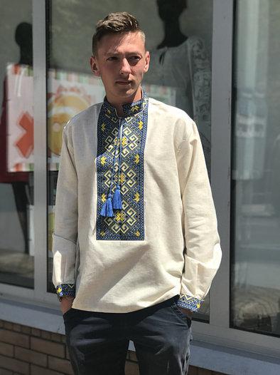 Вышиванка мужская сероватого цвета с длинным рукавом