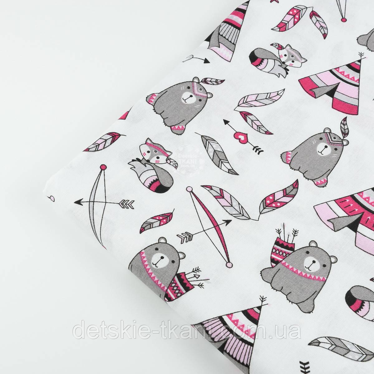 """Лоскут ткани  """"Мишки - индейцы"""" №843 размером 22*80 см"""