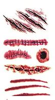 20 видов Временное тату для Halloween ,шрамы,раны,швы