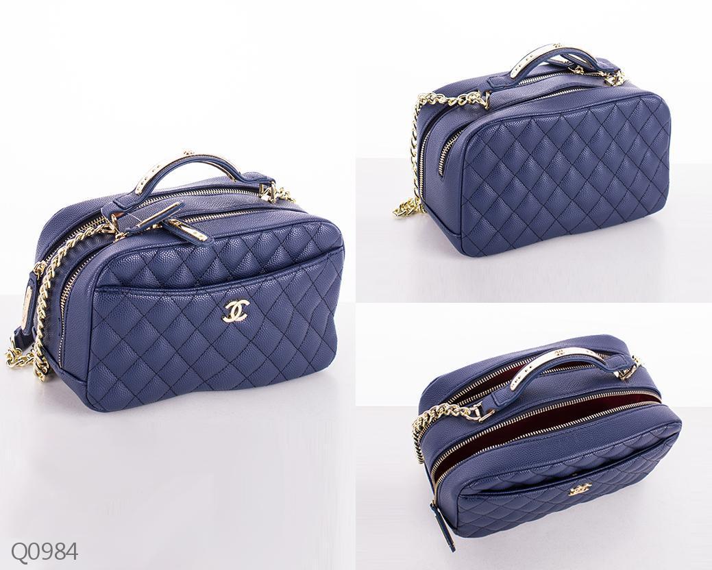 Модная женская квадратная сумка с двумя делениями на молнии стеганая синяя