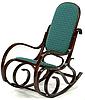 Кресло-качалка темная,зеленая ткань точки