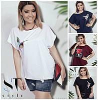Женская футболка с принтом Батал до 58р 16528