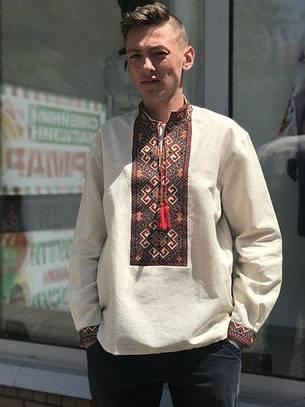 Вышиванка мужская сероватого цвета с длинным рукавом, фото 2