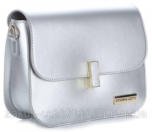 01cdb47245c0 Итальянская женская сумочка-почтальонка из натуральной кожи VITTORIA GOTTI,  Made in Italy, серебристая: продажа, цена в Луцке. женские сумочки и клатчи  от