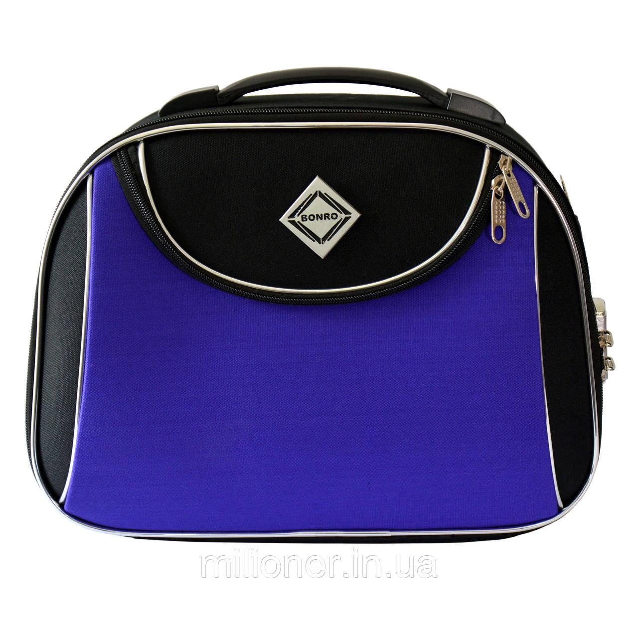Сумка кейс саквояж Bonro Style (средний) черно-т,фиолетовый