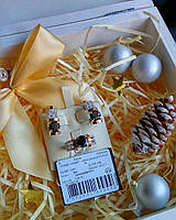 Серебряные серьги с золотыми пластинами ЗАРИНА, фото 1